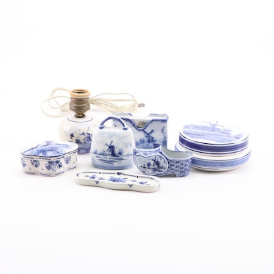 Blue and White Delft Pottery Including Lamp and Lidded Dishes