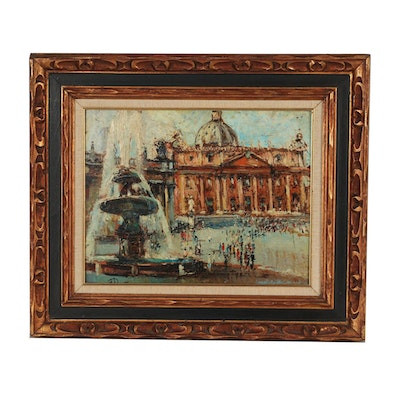 Mid-Century Impasto Oil Painting of St. Peter's Basilica