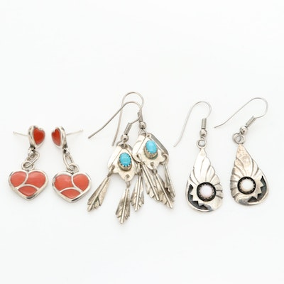 Sterling Earrings Featuring Sibert and Janita Kallestewa Zuni and Turquoise