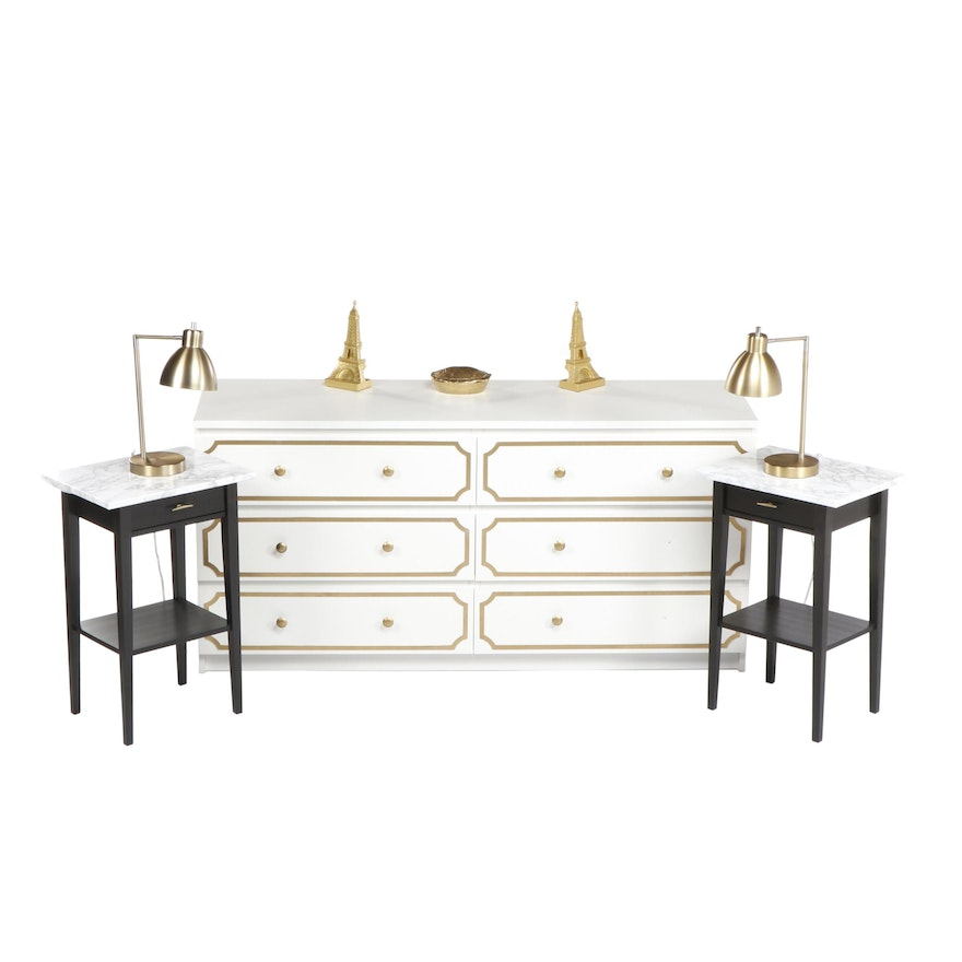 . Contemporary White Dresser with Pair of IKEA  Hemnes  Nighstands and Brass  Lamps