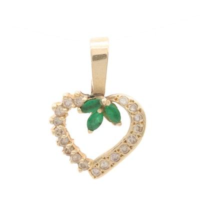 14K Yellow Gold Emerald and Diamond Heart Pendant