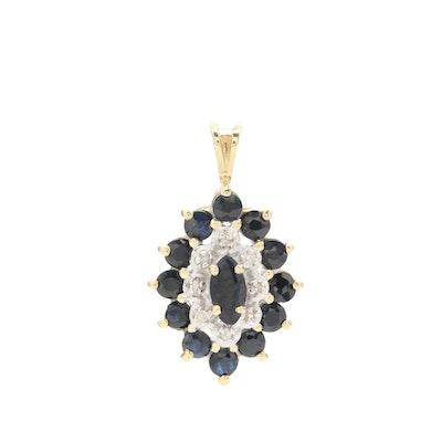 14K Yellow Gold Sapphire and Diamond Pendant