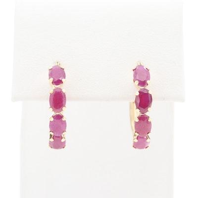 14K Yellow Gold Ruby Hoop Earrings