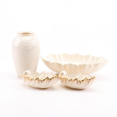 Lenox Porcelain Vase, Leaf Bowls and Serving Bowl