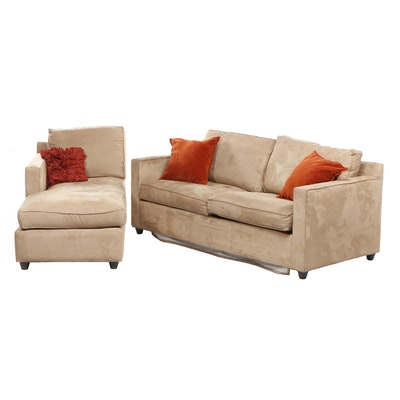 Contemporary Crate & Barrel Beige Upholstered Sleeper Sofa and Chaise