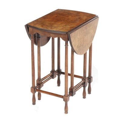 Baker Furniture Burled Walnut Drop-Leaf Gate-Leg Stand, Late 20th Century