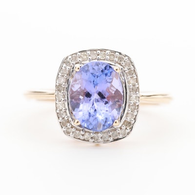 10K Yellow Gold Tanzanite Ring with Diamond Halo