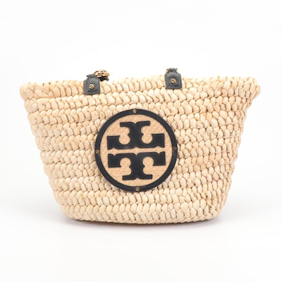 Tory Burch Audrey Woven Straw and Black Leather Tote