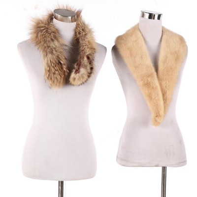 Mink and Raccoon Fur Collars, Vintage