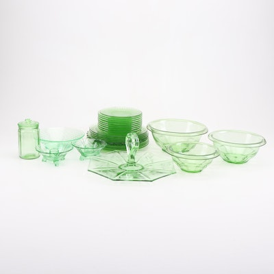 Green Depression and Other Glass Dinnerware, Early to Mid 20th Century