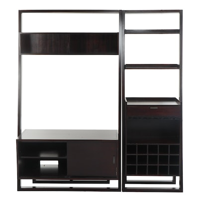 Crate & Barrel Contemporary Dark Cherry Finished Entertainment Center Wall Unit