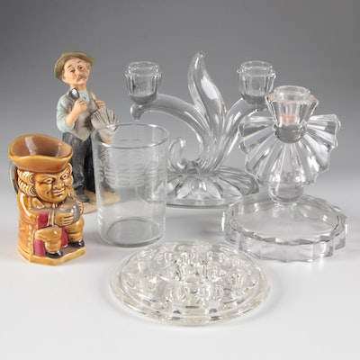Glass Candlestick Holders, Flower Frog, Ceramic Figurine, and More