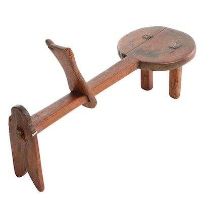 Wooden Shaving Horse Stool, Antique