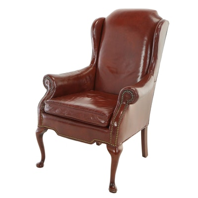 Leathercraft Inc., Queen Anne Style Dyed-Leather Wingback Armchair