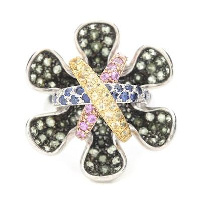 18K White Gold Multi-Color Sapphire Ring
