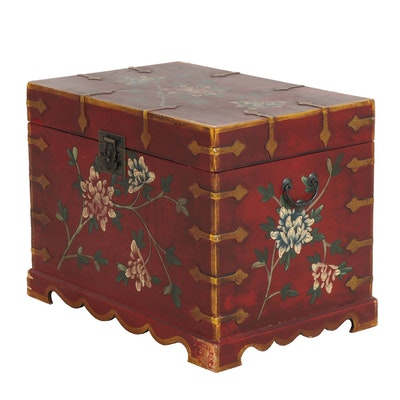 Contemporary Paint-Decorated Transitional Style Wooden Trunk