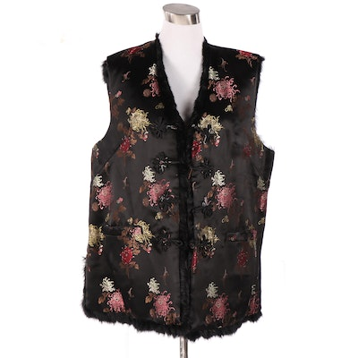 Yue Hwa Reversible Rabbit Fur and Brocade Vest with Frog Closures