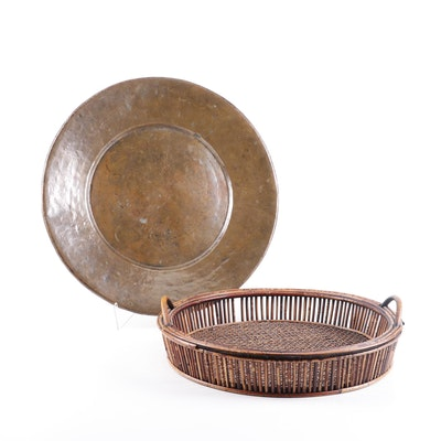 Hammered Copper Plate Platter and Woven Bamboo Tray
