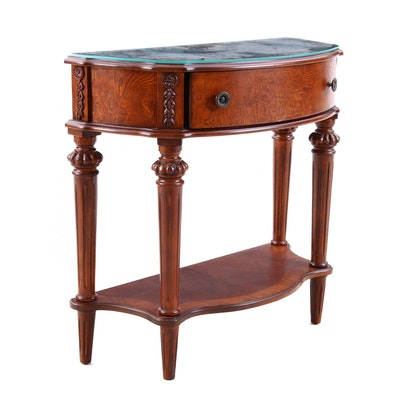 Contemporary George III Style Walnut Finish Demi-Lune Table