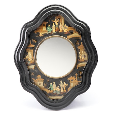 Chinese Inlaid Mother-of-Pearl Hand-Painted Cabinet Mirror