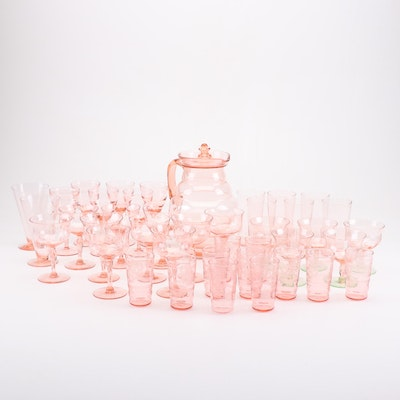Pink Depression Glass Stemware, Tumblers and Pitcher, Mid-Century