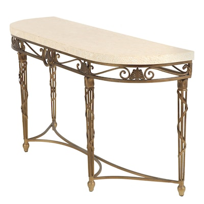 Contemporary Stone Top Console Table with Metal Base