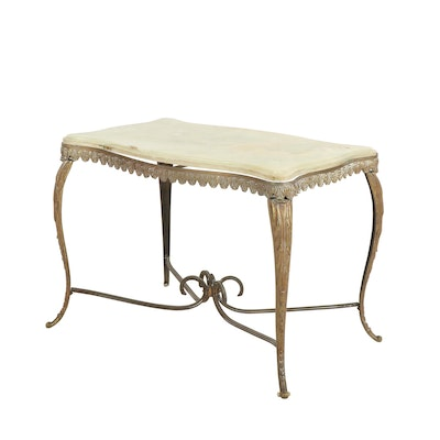 Rococo Style Onyx, Brass and Iron Table, 1920s-1930s