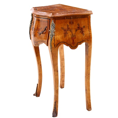 Painted Burl Wood Escritoire Desk with Chair, Circa 1920s