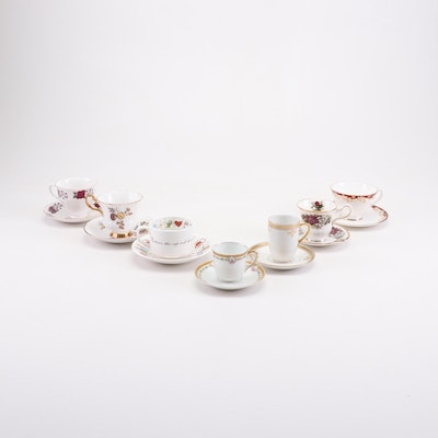 Mixed Porcelain and Bone China Tea Cup and Saucer Sets