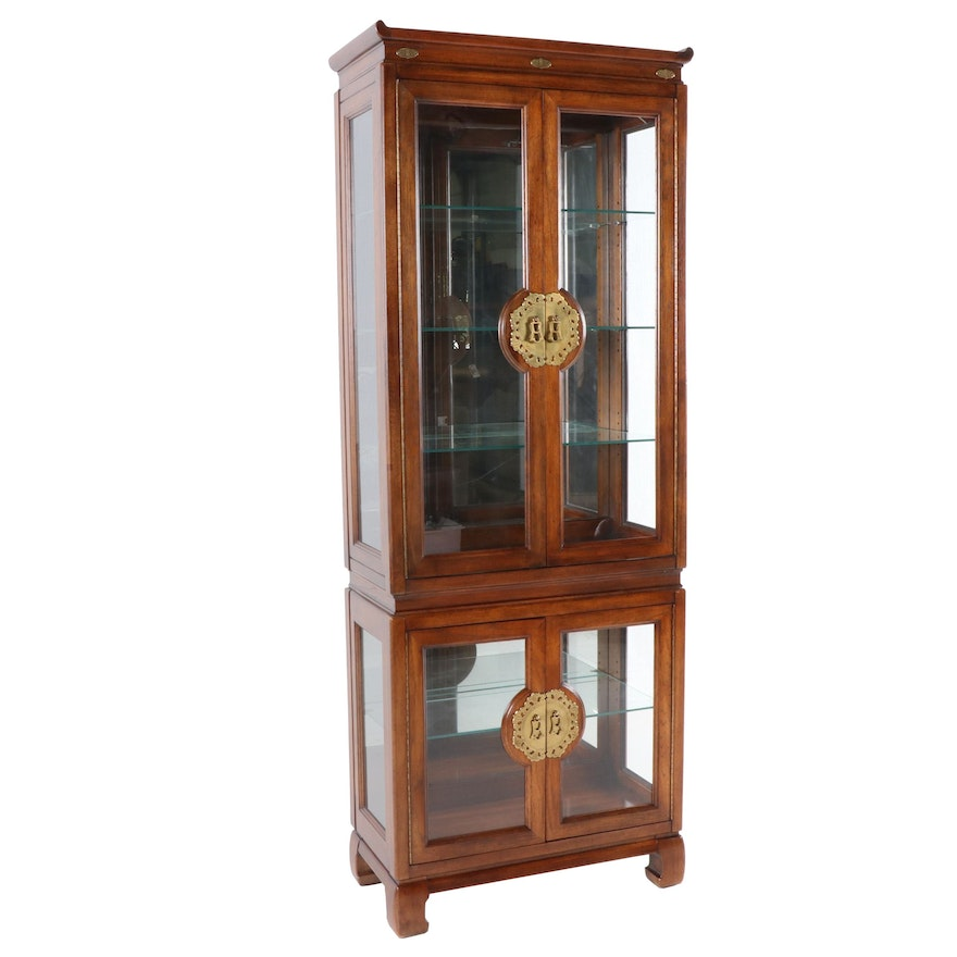Chinese Inspired Oak Curio Cabinet, Late 20th Century
