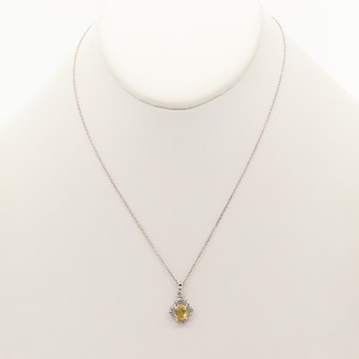 14K and 18K White Gold Yellow Sapphire and Diamond Pendant Necklace