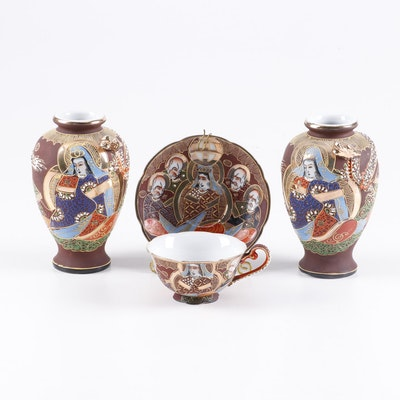 Shofu Japan Slip Trailed and Gold Enameled Porcelain Teacup, Saucer, and Vases