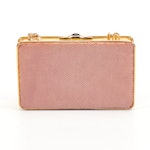 Judith Leiber Karung Skin Clutch Evening Bag with Cabochon and Chain Strap