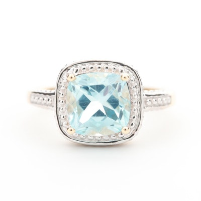 10K Yellow Gold Blue Topaz Ring with Beaded Detail Halo