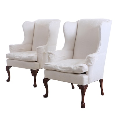 White Wingback Armchairs, Pair