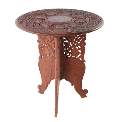 Indian Carved Sheesham Wood Collapsible Side Table