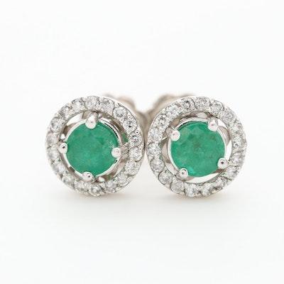 14K White Gold Emerald and Diamond Stud Earrings