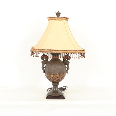 Urn Shaped Table Lamp with Beaded Shade