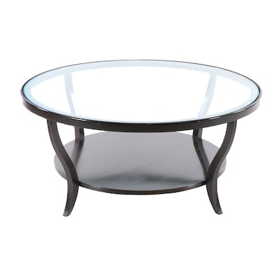 Contemporary Over-sized Mahogany Smokey Glass Top Cocktail Table