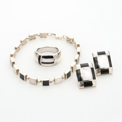 Sterling Bracelet with Gemstone Ring and Earrings Set Featuring Black Onyx