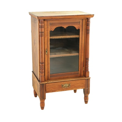 Late Victorian Glazed-Door Side Cabinet, Late 19th/Early 20th Century
