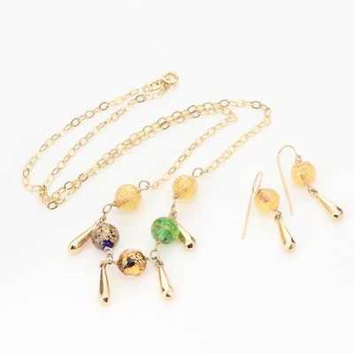 14K Yellow Gold Glass Necklace and Earrings Set