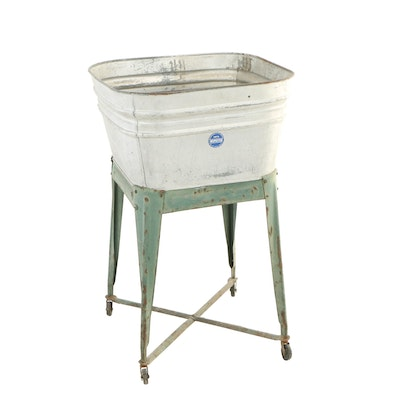 Painted Metal Washtub-on-Stand, 20th Century
