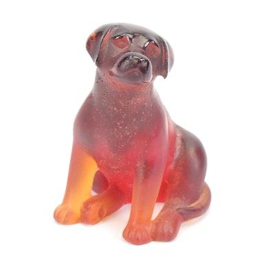 Daum Pâte de Verre Crystal Labrador Dog Figurine