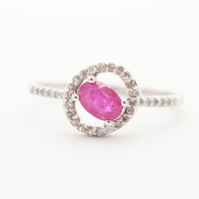 10K White Gold Ruby with Diamond Ring