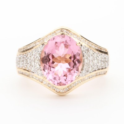 14K Yellow Gold 3.13 CT Pink Tourmaline and Diamond Ring