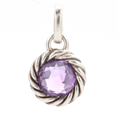 David Yurman Sterling Silver Amethyst Cable Design Pendant