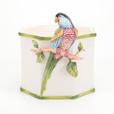 Grosselle Italian Ceramic Parrot Planter