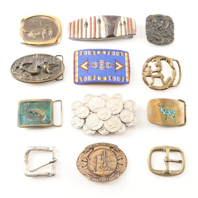 Belt Buckles Including Coins, Wood and Stone Inlay, Beaded, Bronze, and Brass
