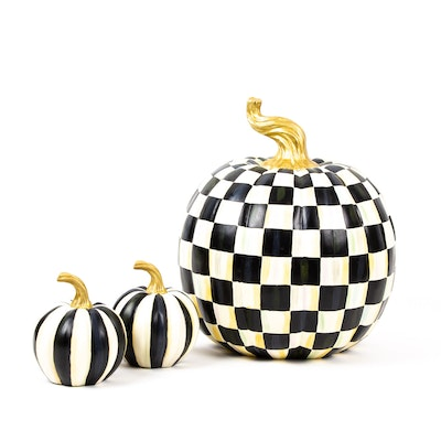 """MacKenzie-Childs """"Courtly Check"""" and Striped Pumpkins"""